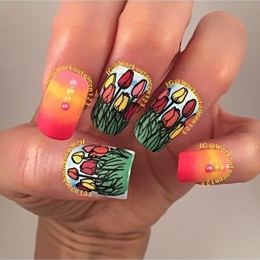 Tulips  nail art by Workoutqueen123