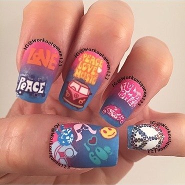 Back to the 60's nail art by Workoutqueen123