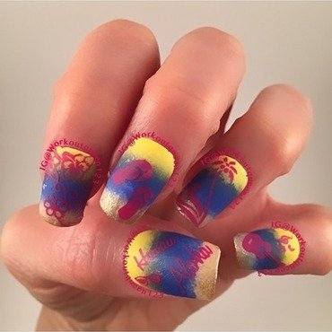Vacation Hawaii nail art by Workoutqueen123