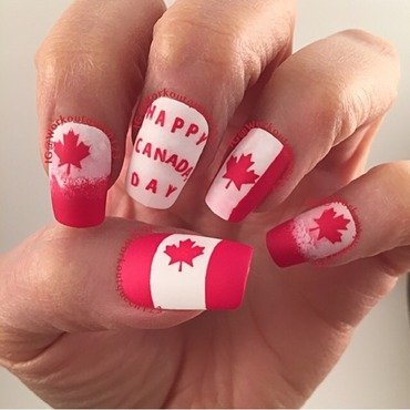 Canada Day July 1st nail art by Workoutqueen123