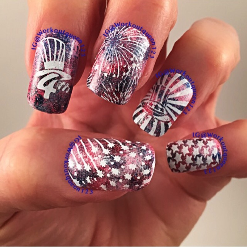 The 4th of July nail art by Workoutqueen123