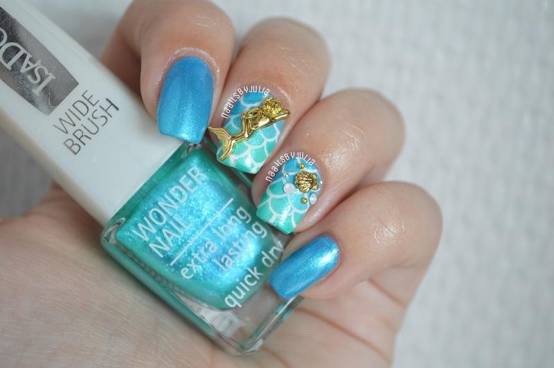 Mermaid nailart nail art by Julia
