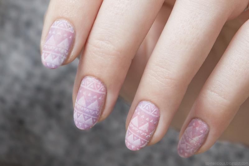 Pink aztec nail art by Magdalena
