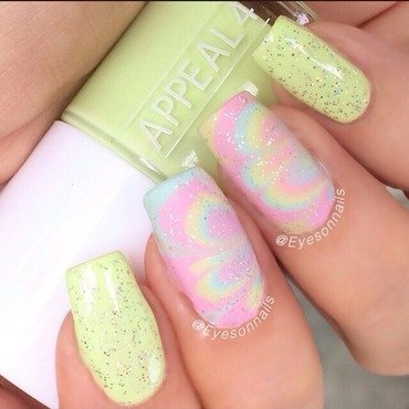 Pastel watermarble nail art by Virginia