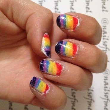 Rainbow Stripes nail art by Nailsofmel