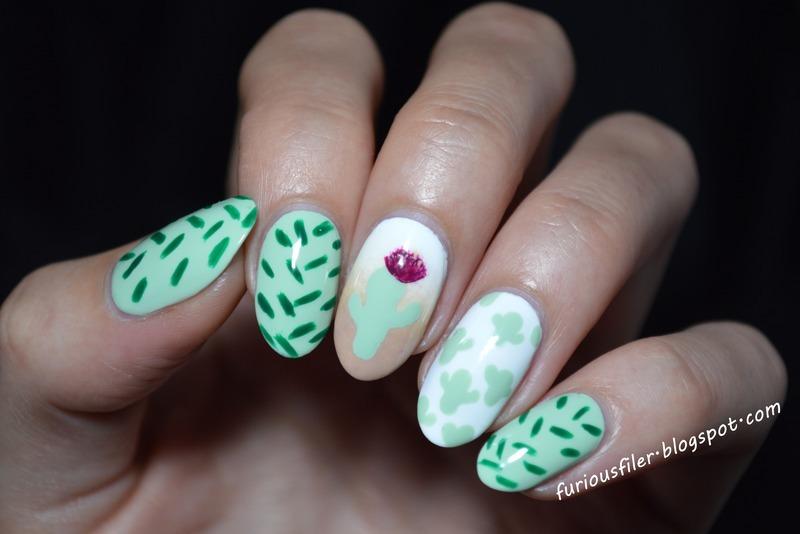 Cactus nail art by Furious Filer