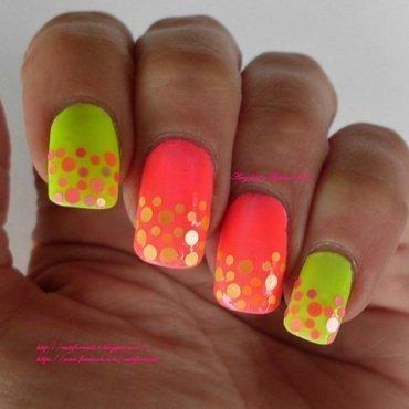 Neon Dots  nail art by Angelique Adams