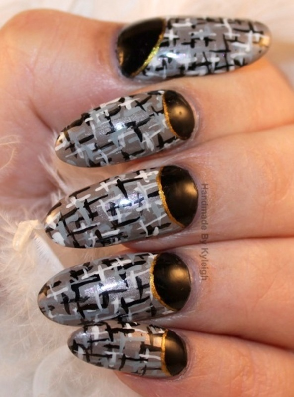 Tweed ... (well it was supposed to be;) ) nail art by  Kyleigh  'Handmade By Kyleigh'