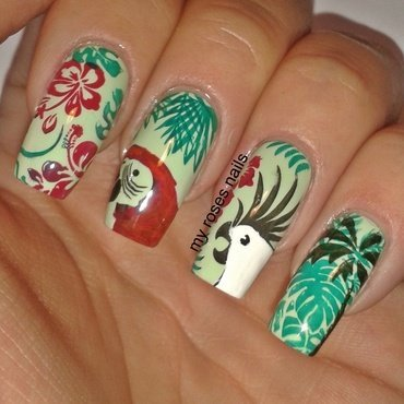Tropical forest nail art by Ewa
