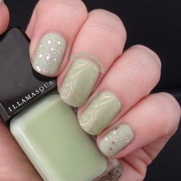Matte Gold and Pale Sage nail art by WithnailsandI