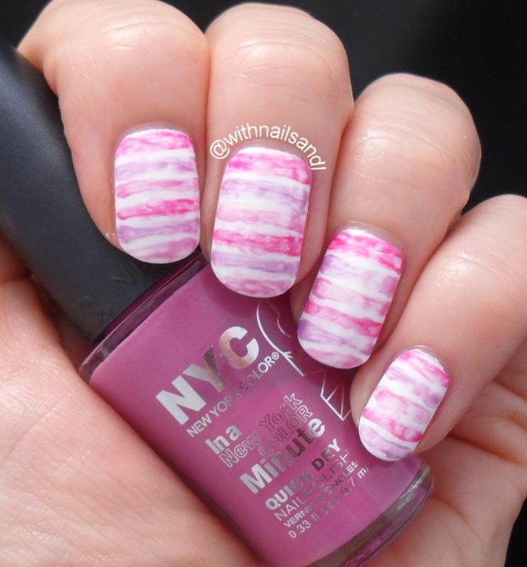 Watercolour Stripes nail art by WithnailsandI