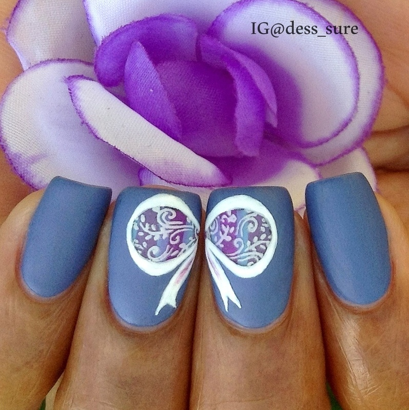 Stamped Bow nail art by Dess_sure