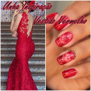 Unha Inspiração Vestido Vermelho nail art by Siça Ramos