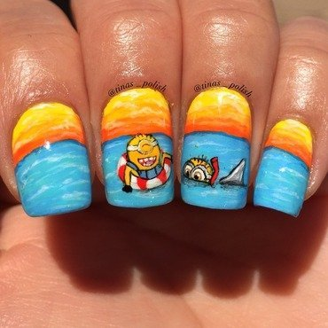 Minion Attack nail art by Christina