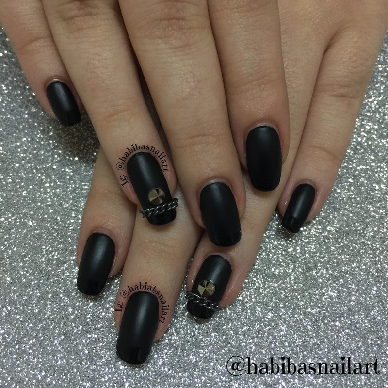 Chains and studs nail art by Habiba  El-kallas