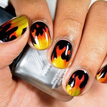 Flame Tips nail art by Fatimah