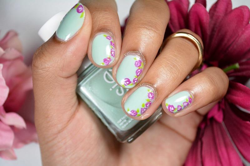 Side Ruffian Flowers nail art by Fatimah