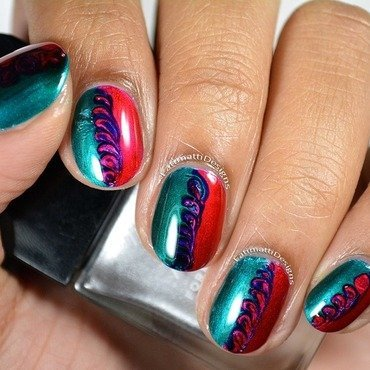 Swirly Dry Marble nail art by Fatimah