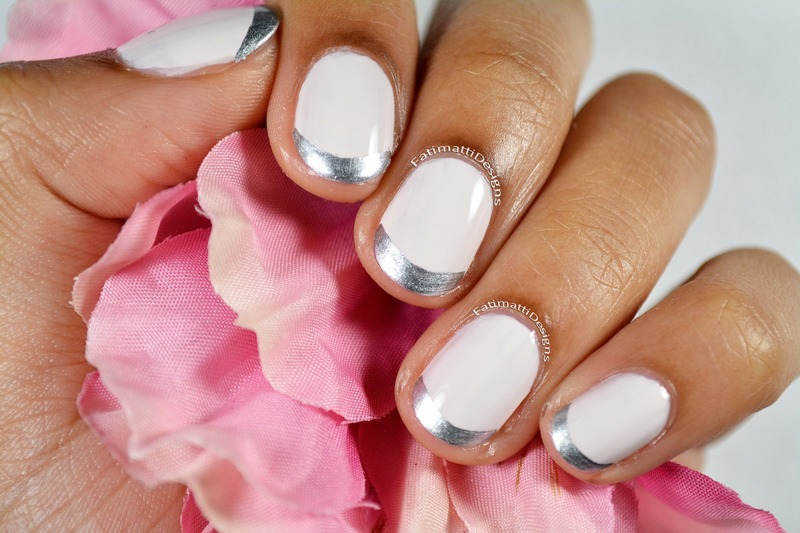 Silver French Tips nail art by Fatimah