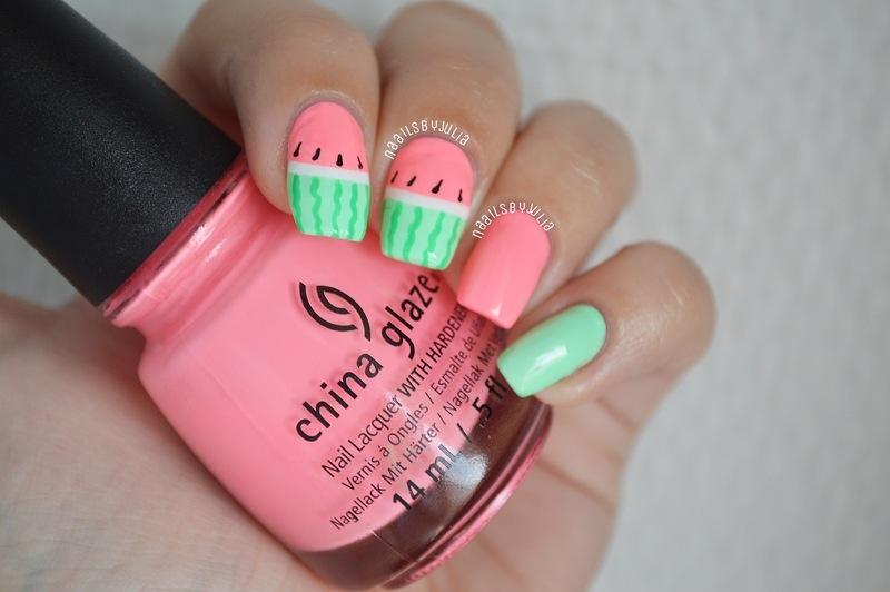 Watermelons nail art by Julia