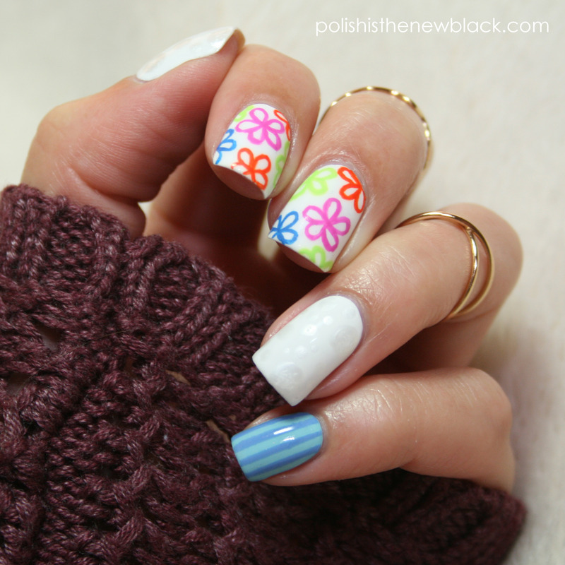 Bright Florals nail art by Polishisthenewblack