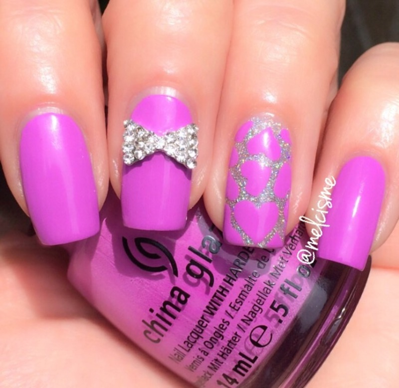 Purple  nail art by Melissa