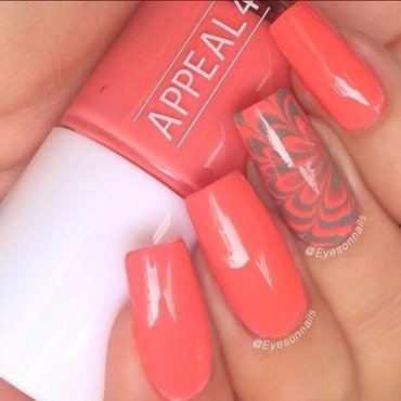 Coral watermarble  nail art by Virginia