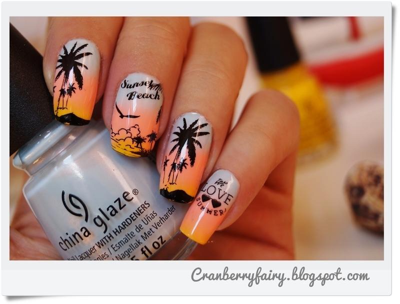 Sunset beach nail art by Cranberry Fairy