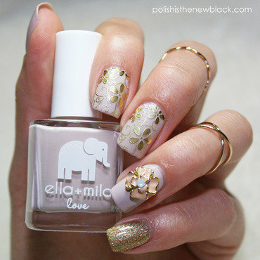Metallic Floral Nails nail art by Polishisthenewblack