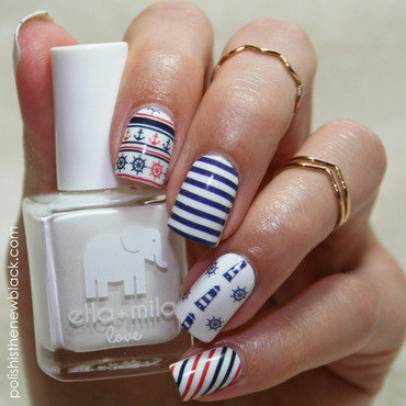 Nautical Nails nail art by Polishisthenewblack