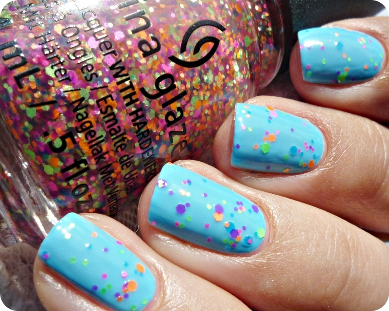 China Glaze UV Meant to be and China Glaze Point Me To The Party Swatch by Romana