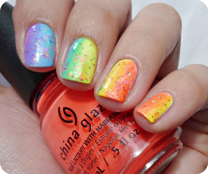 Summer Neon Gradient nail art by Romana