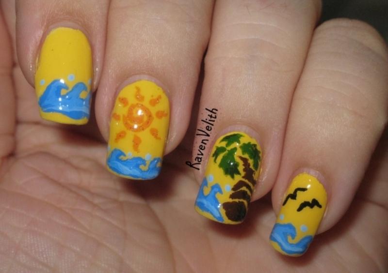 Vector Beach nail art by Lynni V.