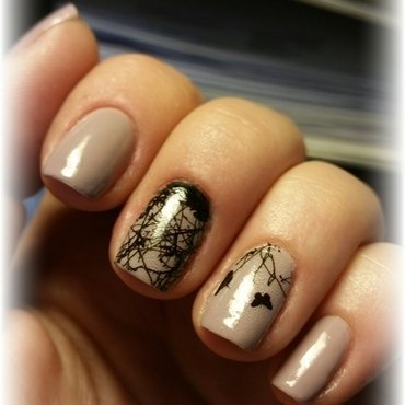 water decals on nude nail art by redteufelchen86