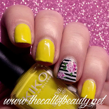 Stripes and Flowers nail art by The Call of Beauty