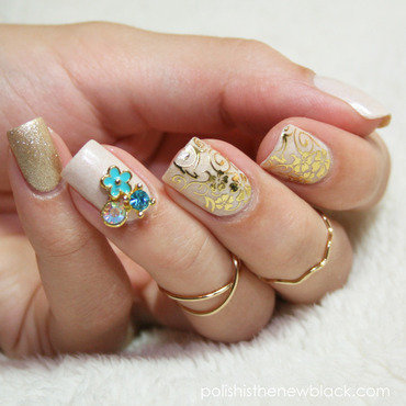 Gold Floral Nails nail art by Polishisthenewblack