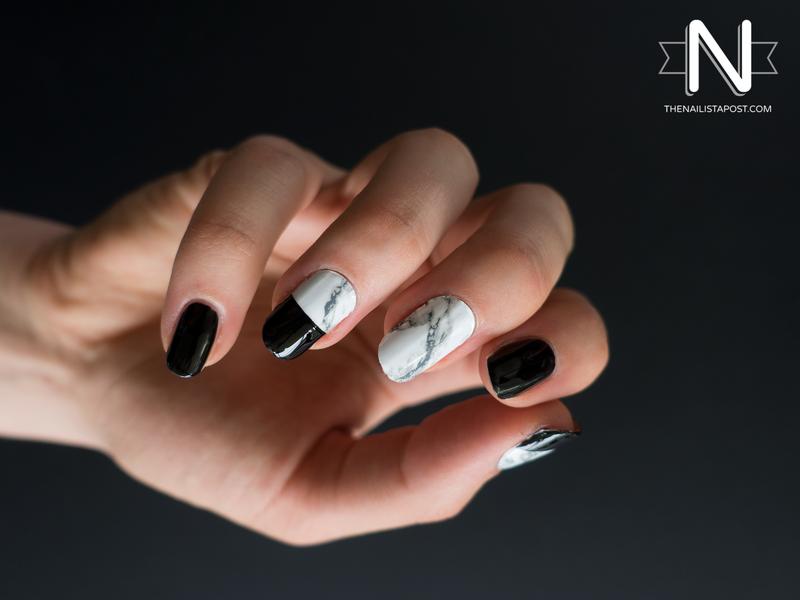 Du marbre et du noir nail art by Kate C.