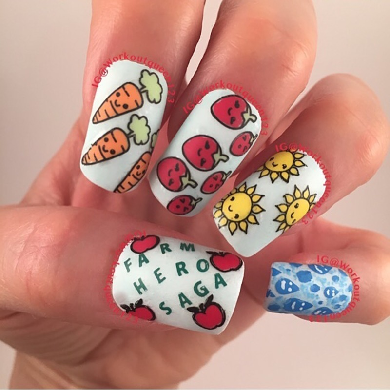 Farm Hero Saga Game nail art by Workoutqueen123