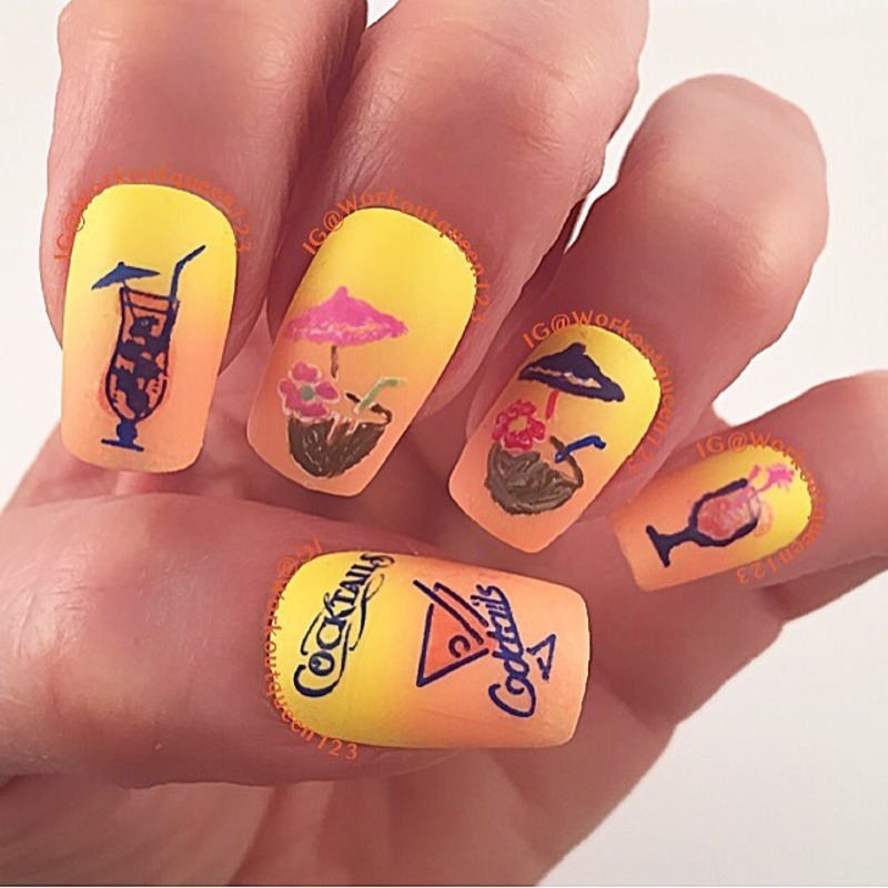 Cocktails Anyone nail art by Workoutqueen123