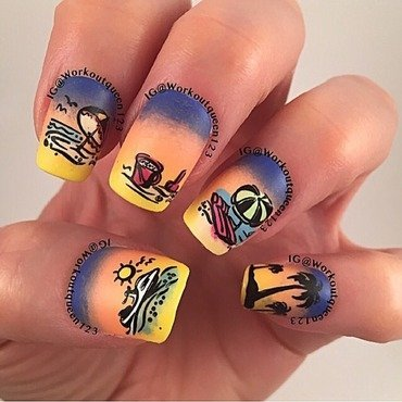 Sunset after a day at the beach nail art by Workoutqueen123