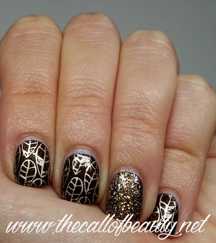 Glitter Leaves nail art by The Call of Beauty