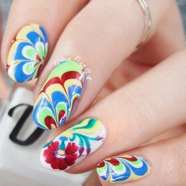 Swedish Folk Flower nail art by Lou
