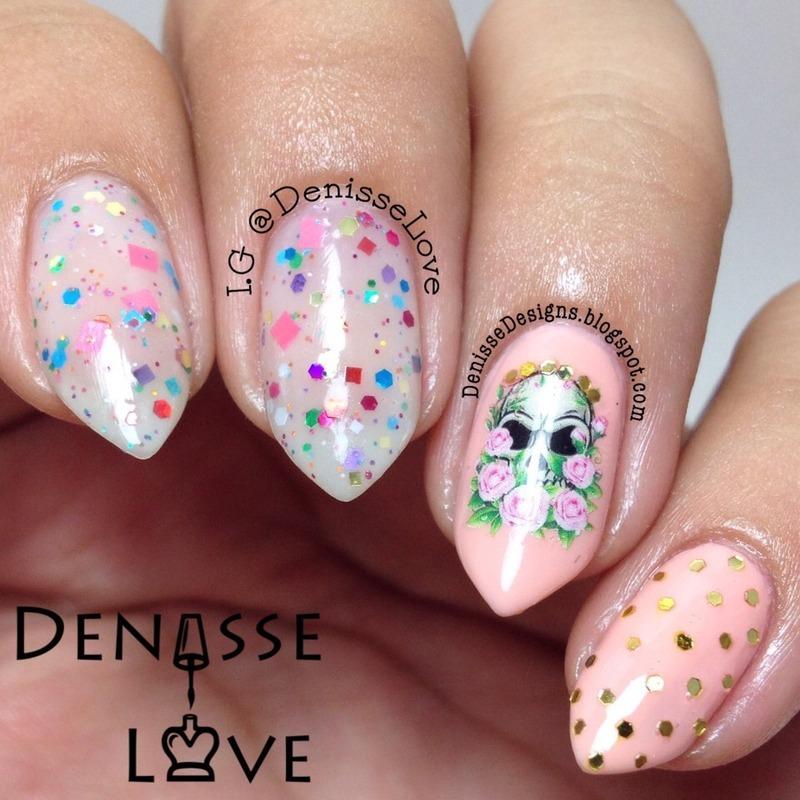 Skulls & Roses nail art by Denisse Love