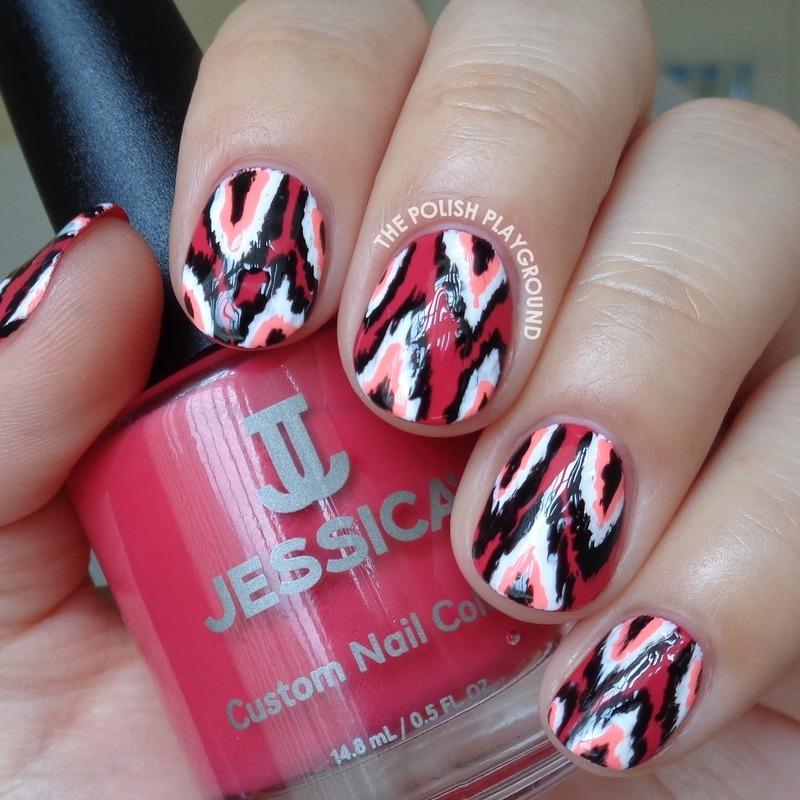 Red and Pink Ikat Nail Art nail art by Lisa N