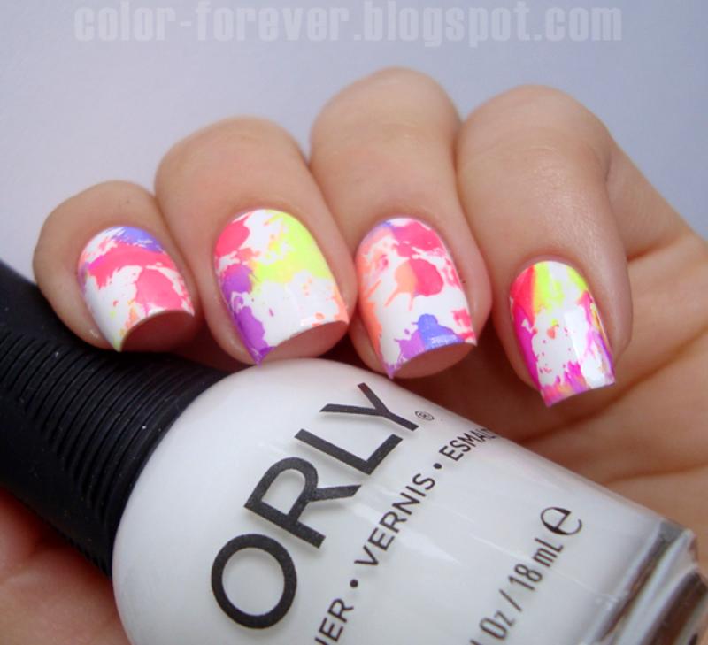 neon splatter stamping nail art by ania