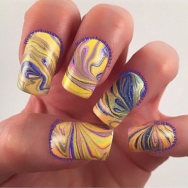 Rainbow with water marbling nail art by Workoutqueen123