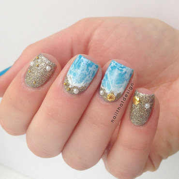 Textured Beach Nails nail art by NailThatDesign