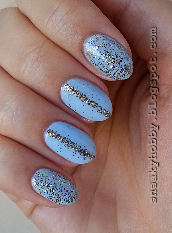 Blue And Gold Loose Glitter nail art by Mgielka M