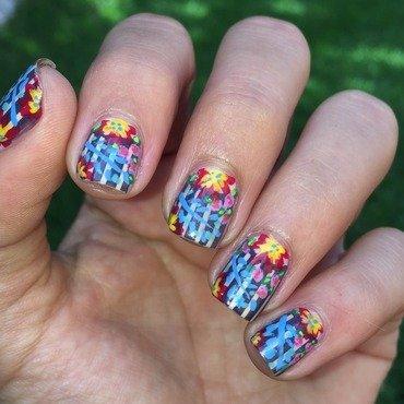 Floral print nail art by Ashley