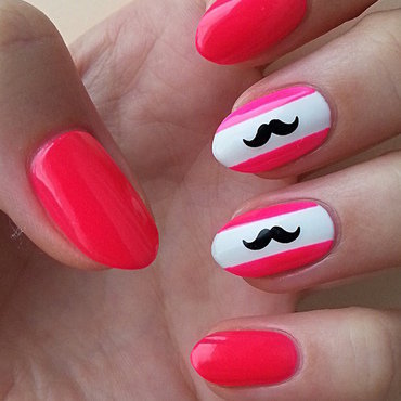 Neon Mustache nail art by Mgielka M